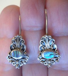 Sterling Silver 925 Stamped, SU Signed, Detailed Filigree and Abalone Dangle Earrings. by Bestintreasures on Etsy