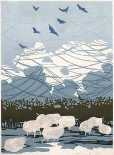: :Sheep and sky, Lino cut by Laura Boswell - Printmaker : :