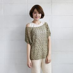 Over-Size Tops Lace Cotton Camomile Green Color-www.tanbagshop.com