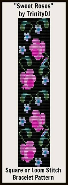 "New Loom or Square stitch bracelet pattern ""Sweet Roses""- Bead Loom Patterns, Peyote Patterns, Bracelet Patterns, Beading Patterns, Embroidery Patterns, Cross Stitch Patterns, Embroidery Bracelets, Bead Loom Bracelets, Beaded Embroidery"