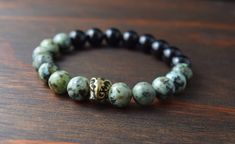 • Opposites Attract! African Turquoise and Onyx Bracelet - Elephant Bracelet - Men's Fashion Bracelet - Men's Yoga Bracelet - Lotus & Lava Bracelet •