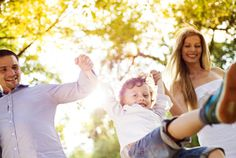 Family having fun outdoors during the spring