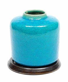 Turquoise glazed earthenware vase on black pottery saucer, design & execution by Pieter Groeneveldt / Voorschoten, the Netherlands ca.1955 | ceramics