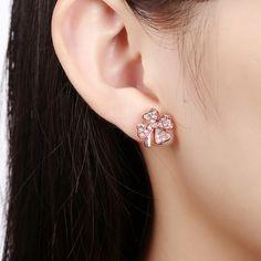 e4cfb44c2 Trendy Rose Gold Plated Plant Rhinestone Stud Earrings for Women GPSE001 0  Women's Earrings, Diamond