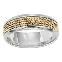 Rope accent yellow and white gold men's ring from Lieberfarb.  Nautical.