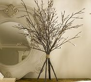 twig centerpiece...easy to see people across the table!