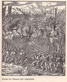 """""""Kampf der Reisigen und Fußknechte"""", Holzschnitt von Hans Burgkmair (1473 - 1531)"""