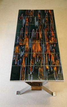 Poole tiled coffee table Tiled Coffee Table, Retro Coffee Tables, Furniture Board, Cool Furniture, Furniture Ideas, Pottery Art, Diy Home Decor, Bullet, Chrome