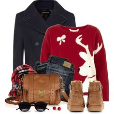 Red Reindeer Sweater by snickersmother on Polyvore featuring Yumi, Jaeger, UGG, Proenza Schouler, Old Navy, Chicnova Fashion, F and RGB