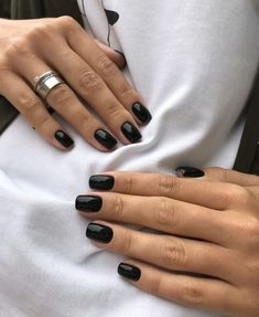 black nails with glitter ; black nails with rhinestones ; black nails with accent nail Pastel Nails, Cute Acrylic Nails, Pink Nails, Cute Nails, Pretty Nails, Green Nails, Glitter Nails, Minimalist Nails, Minimalist Design