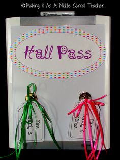 Classroom DIY: DIY Hall Passes with Fewer Germs  http://www.classroomdiy.com/2012/07/diy-hall-passes-with-fewer-germs.html