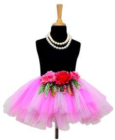 Tu Ti Tu Pink & White Tulle Tutu Skirt  #Pink, #Net, #Solid