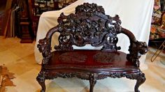 ANTIQUE 19c CHINESE SETTEE W/ELABORATELY CARVED DRAGON BACK ,ARM REST& LEGS