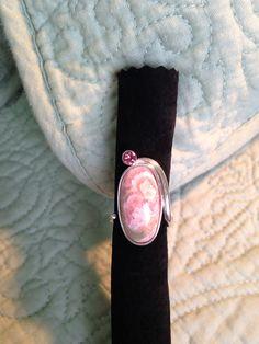 Anel em prata com turmalina rosa e rodocrosita