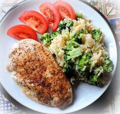 Perfectly Baked Chicken Breasts with Cheese Broccoli Rice