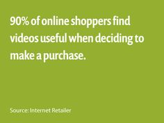 90% of online shoppers find videos useful when deciding to make a purchase. - Source: Internet Retailer