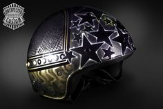 """Open face custom helmet """"Black Stars"""".  Worked with airbrushed metalpowders, metallic colors and embellished with brass studs."""