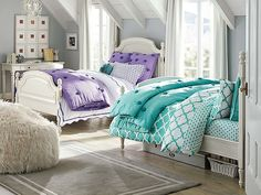 luxurious attic bedroom ideas for girls with two bed in purple and green colors set next to glass window under aslant white ceilingjpg cozy attic bedroom