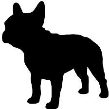 French Bulldog, silhouette, stencil, illustration B&W. White French Bulldog Puppies, French Bulldogs, French Bulldog Drawing, Bulldog Images, Outline Drawings, Dog Silhouette, Animals And Pets, Cute Dogs, Dog Cat