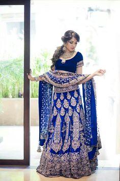 Manish malhotra blue Lehenga. Pakistani and Indian Wedding Fashion Dress.