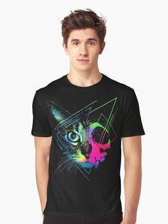 'Geometric skull face cat' Graphic T-Shirt by clingcling Cat Skull, Skull Face, Cat Face, Neon Cat, Geometric Cat, Long Hoodie, Laptop Sleeves, Female Models, Chiffon Tops