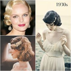Emily's hairdo ~ inspiration for styled front & hair comb/pin (to be more tousled in style like the rest of the body of hair) vintage wedding hairstyles by Percy Handmade Retro Wedding Hair, Wavy Wedding Hair, Elegant Wedding Hair, Wedding Hair And Makeup, 1930s Wedding, Retro Hair, Curled Hairstyles, Vintage Hairstyles, Wedding Hairstyles