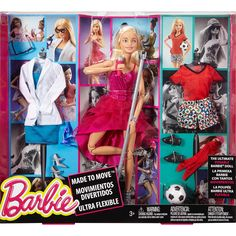 Explore three different careers with this Made to Move Barbie doll, her…