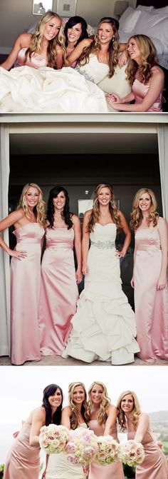 Classic meets romantic with floor length pink bridesmaid dresses and lush bouquets. Photos by Focus Photography via JunebugWeddings.com.