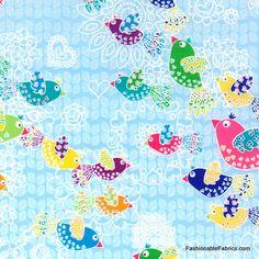 Fanciful Flight Birds in Sky Pearl by Hoffman Fabrics