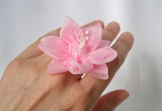 Pink organza fabric flower cocktail ring