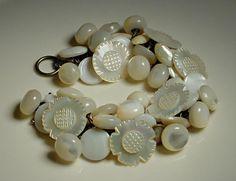 Vintage Button Bracelet Mother of Pearl and von 2Good2BeThrough