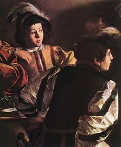 detail - The Calling of St. Mathew -1599-02 Caravaggio (On the right, two youths are sitting opposite each other. The younger one, more strongly lit, is leaning back, putting his arm on St Matthew's shoulder for protection. The youth opposite, with his sword dangling against his upper thigh, spreads out his legs as he turns right.)
