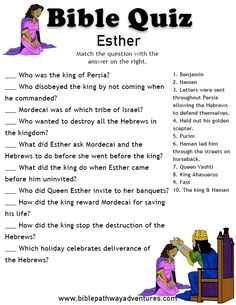 Enjoy our free Bible Quiz, Esther. Fun for kids to print and test their knowledge. Feel free to share with others, too!