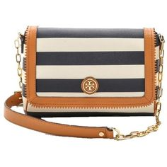 Tory Burch Kerrington Striped Spring Summer New Nwt Navy And White... ❤ liked on Polyvore featuring bags, handbags, shoulder bags, cross body, tory burch handbags, crossbody purse, stripe handbag and summer shoulder bags