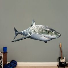 The Dinosaurs: T-Rex, Triceratops and more - Giant Officially Licensed Removable Wall Graphics wall decal provides an easy decorating solution. All of Fathead's General Animal Graphics wall decals are reusable without damaging walls. Kids Wall Decals, Removable Wall Decals, Fishing Themed Bedroom, Shark Bathroom, Boys Nautical Bedroom, Shark Room, Ocean Room, Underwater Theme, Bedroom Themes
