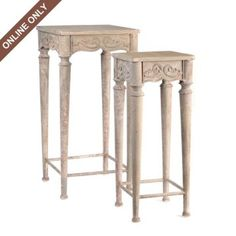 Gray Wood Plant Stand, Set of 2