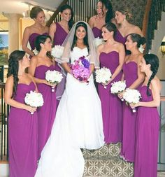 Gorgeous bridesmaids in staircase setup accompanying the bride. Style  2942 by #dessygroup #bridalparty #bridal #bride #bridesmaids #bridesmaidsdresses #patsbridals #bridesmaiddress #wedding #miamiwedding #miamibride