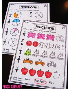 Fractions worksheets that are actually on a grade level. and more fractions… Teaching Fractions, Fractions Worksheets, Math Fractions, Teaching Math, Fraction Activities, Math Resources, Math Activities, Fraction Games, Math Games