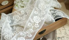 ivory lace trim with embroidered roses by WeddingbySophie on Etsy