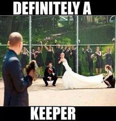 Softball wedding photo