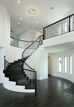 I have obsession over staircases lmao 😋😂 Dream Home Design, My Dream Home, Home Interior Design, House Design, Staircases, Beautiful Homes, Bungalow, Floating Staircase, Grand Staircase