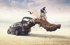 Outlander / Mitsubishi - Maleteras X on Behance Creative Advertising, Print Advertising, Coreldraw, Desgin, Creative Photoshop, Poster Pictures, Foto Art, Photo Retouching, Photo Manipulation