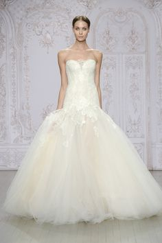 Monique Lhuillier      Anouk     Ivory/blush iridescent Chantilly and re-embroidered lace gown with full tulle skirt