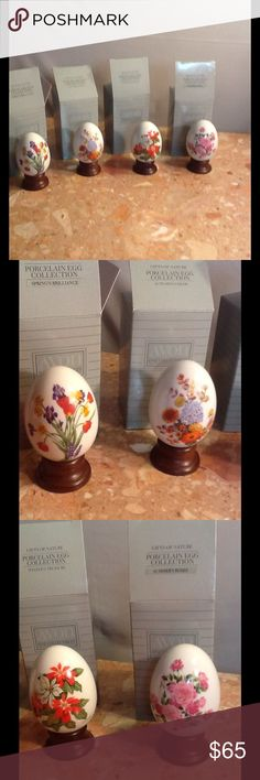 Vintage egg collection porcelain all 4 season 80's This is an Avon exclusive. Beautiful porcelain eggs with holders . This is the 4 seasons . Winter, spring , autumn and summer. These are vintage 1987-1988. Never used in original boxes . Beautiful . Other