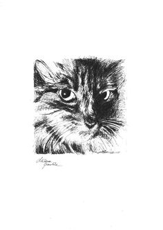 "^^^ CAT'S GAZE ^^^  ""The most poor cat is a masterpiece.""   - Leonardo da Vinci    Interesting and mysterious ink drawing with a soul. From Cats Gazes Series by Milena Gawlik. Cat Art, great wall decor"