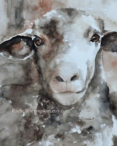 ORIGINAL watercolor PAINTING Sheep in soft by rachellelevingston