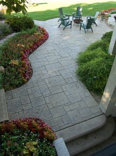 Landscape ideas concrete stamped patio flooring contemporary patio design ideas - All For Garden Concrete Patio Designs, Backyard Patio Designs, Backyard Landscaping, Landscaping Ideas, Patio Ideas, Backyard Ideas, Stamped Concrete Patios, Outdoor Patio Flooring Ideas, Colored Concrete Patio