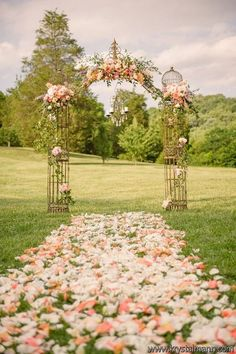 Classic, natural, sophisticated, soft colored flowers in the meadow / http://www.himisspuff.com/wedding-arches-wedding-canopies/4/