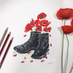 "Lest We Forget - 'Shoes of the Earth' series ❤️ Poppies growing within British army boots with 11 fallen poppy petals. ""We shall not sleep, though poppies grow in Flanders fields"" ❤️ Artist: Melissa Malice Art Flanders Field Poppies, Flanders Poppy, Army Tattoos, Military Tattoos, Henna Designs, British Army Tattoo, Lest We Forget Tattoo, Remember Tattoo, Soldier Tattoo"