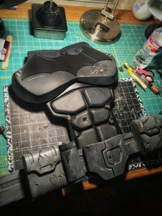 Batman Arkham Origins Batsuit Chest Piece. Finishing this up for a customer. Hope he likes it. CrimeAlleyFX Cosplay Costume